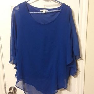 ♡♡Royal Blue Chiffon and silk blouse